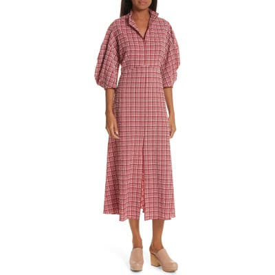 Rachel Comey Amplus Gingham Seersucker Dress, Red