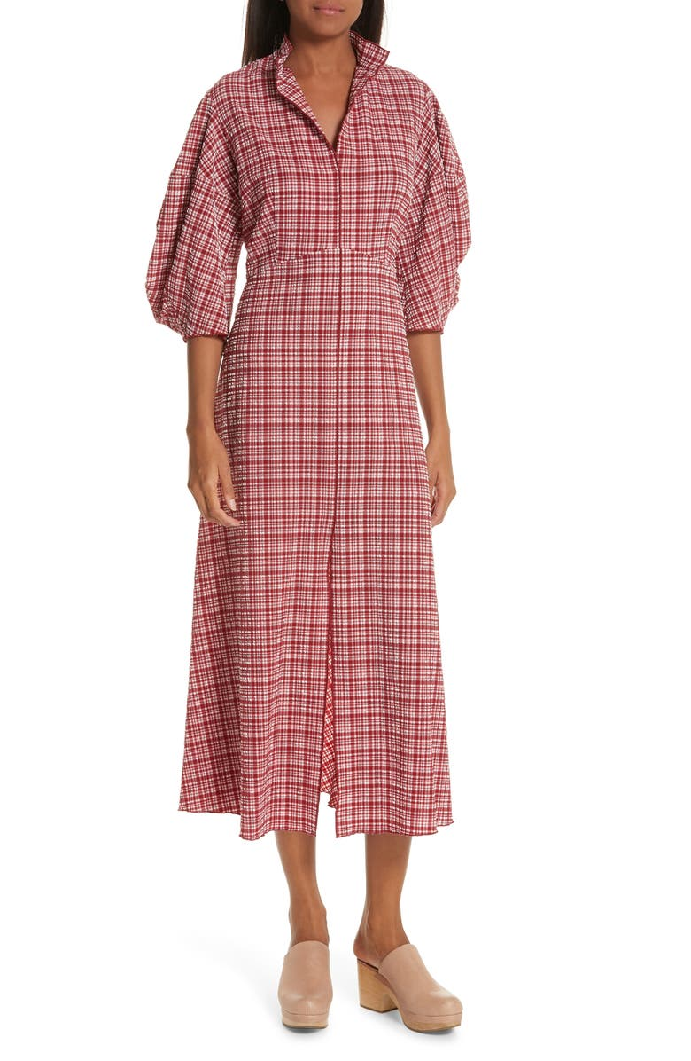 RACHEL COMEY Amplus Gingham Seersucker Dress, Main, color, CRIMSON