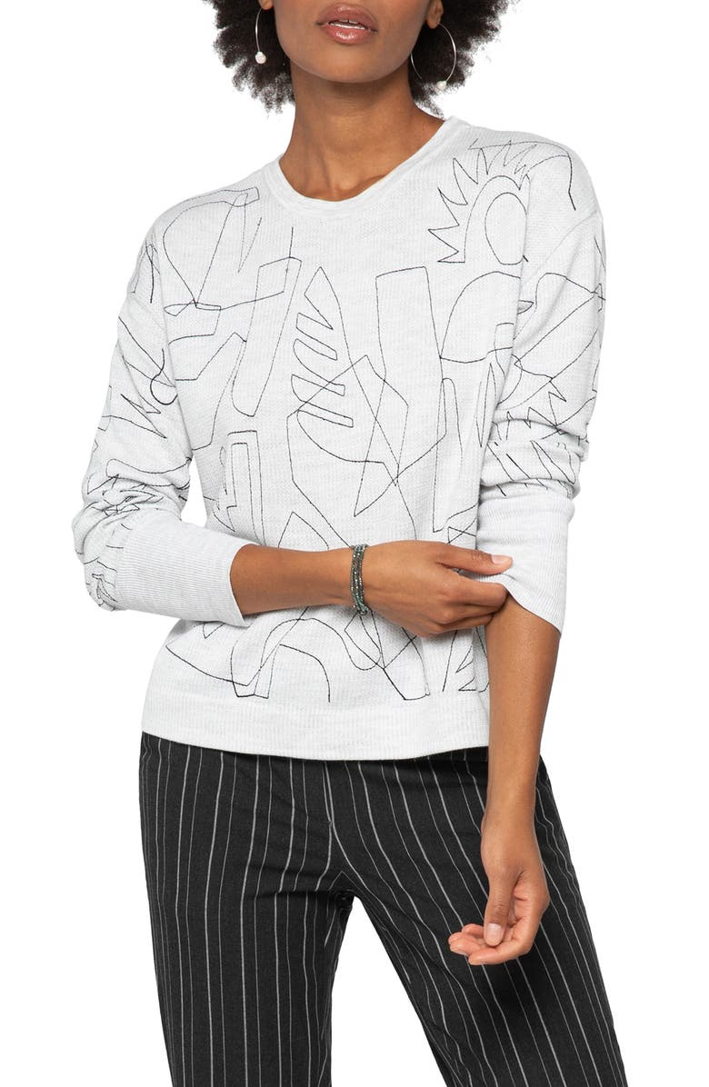 NIC+ZOE Embroidered Sweater, Main, color, MOONDUST HEATHER