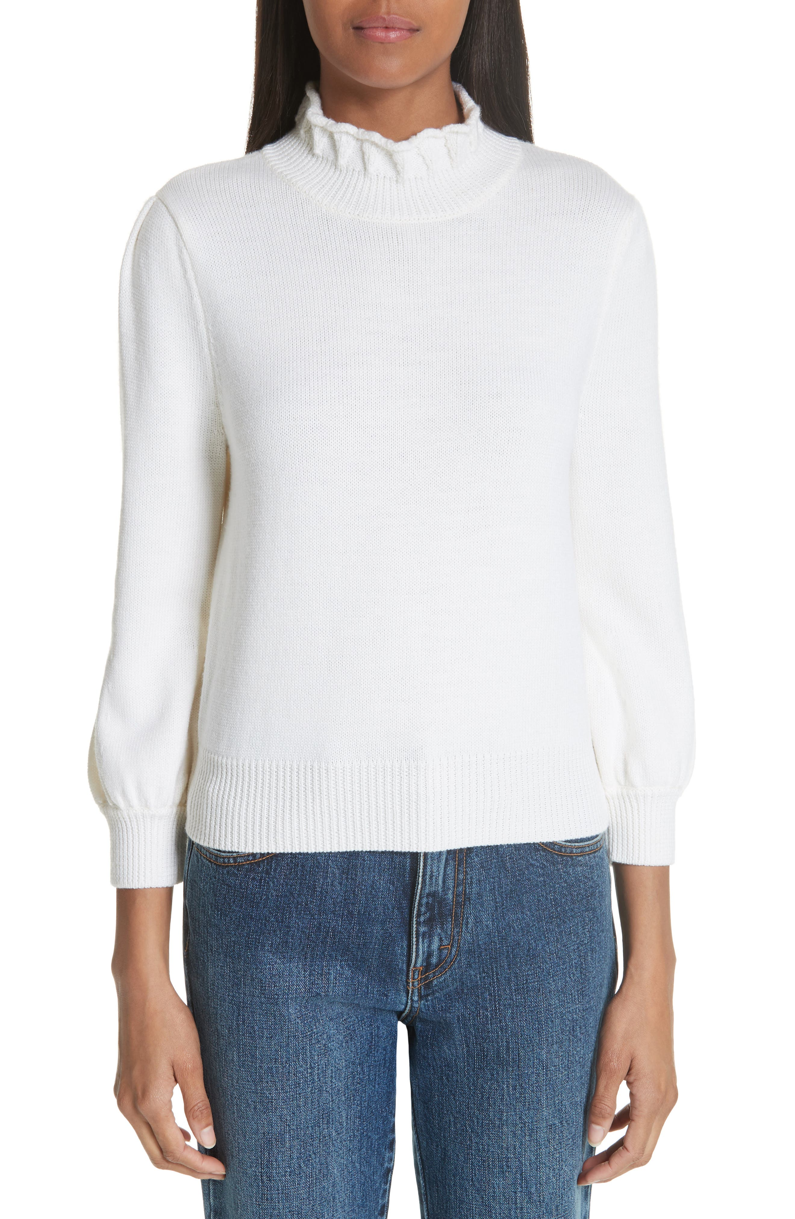 Co Essentials High Collar Wool Sweater, Ivory