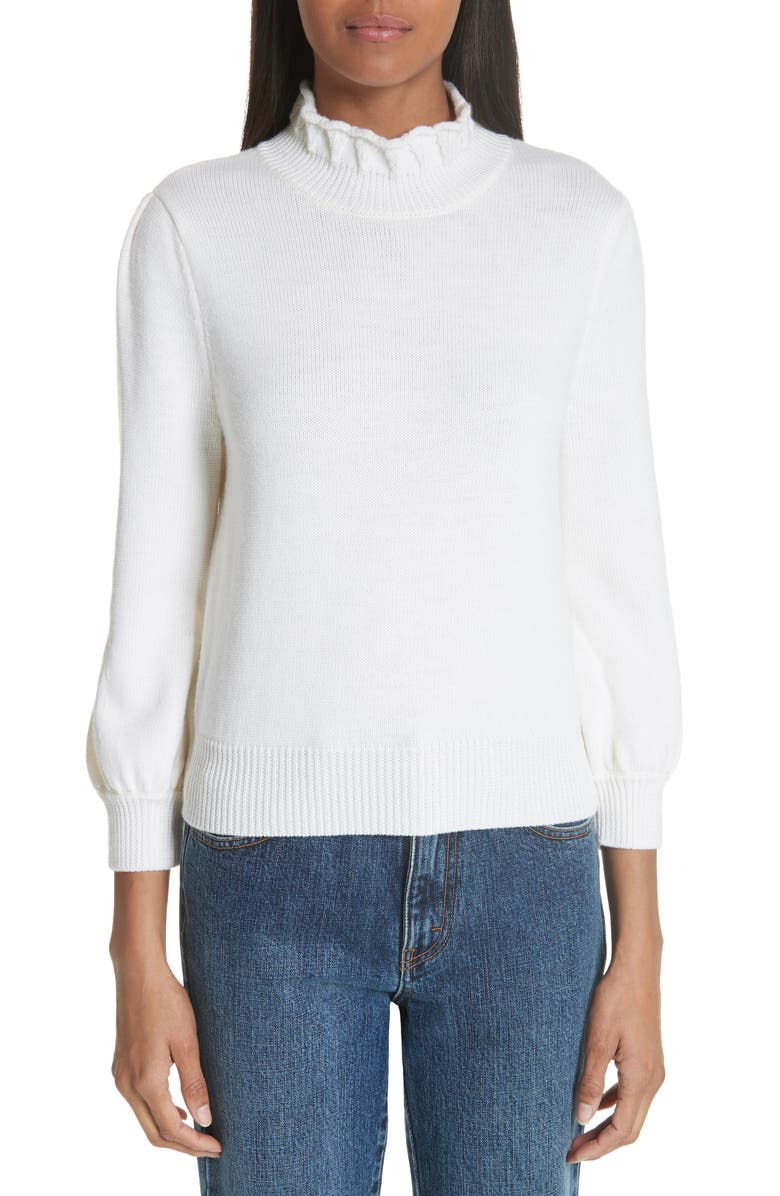CO Essentials High Collar Wool Sweater, Main, color, IVORY