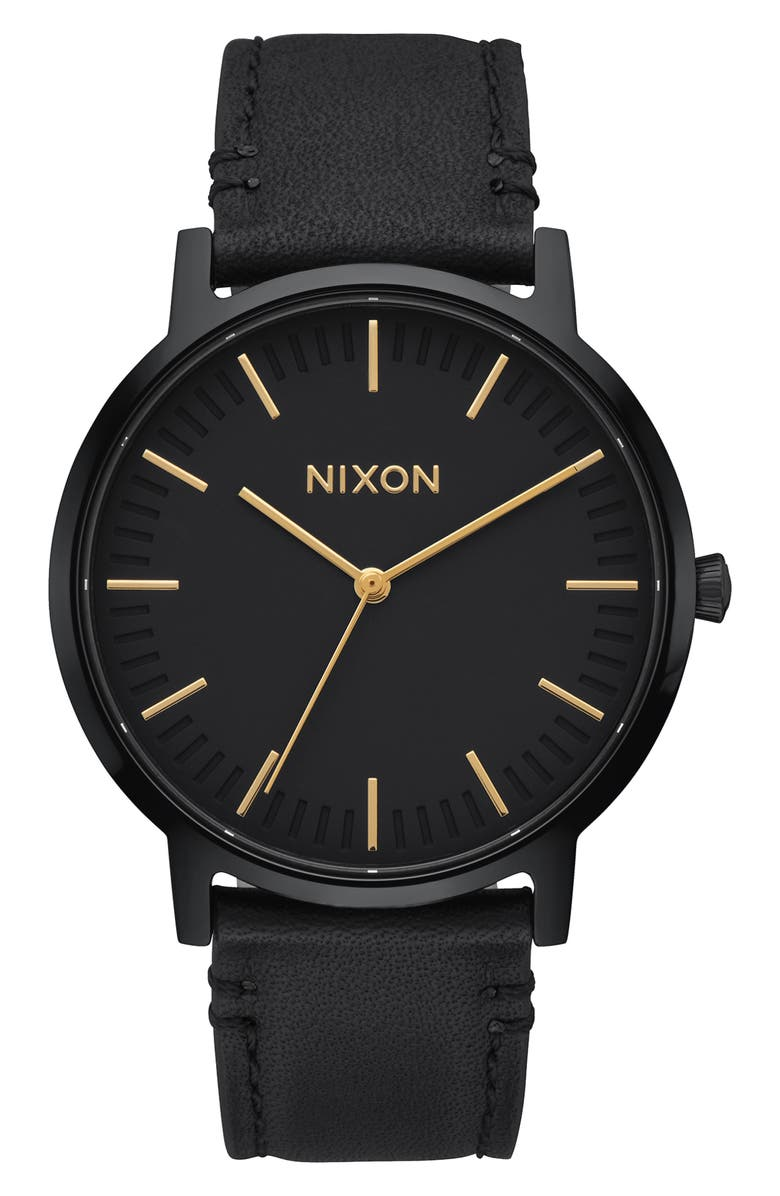 NIXON The Porter Leather Strap Watch, 40mm, Main, color, BLACK/ GOLD