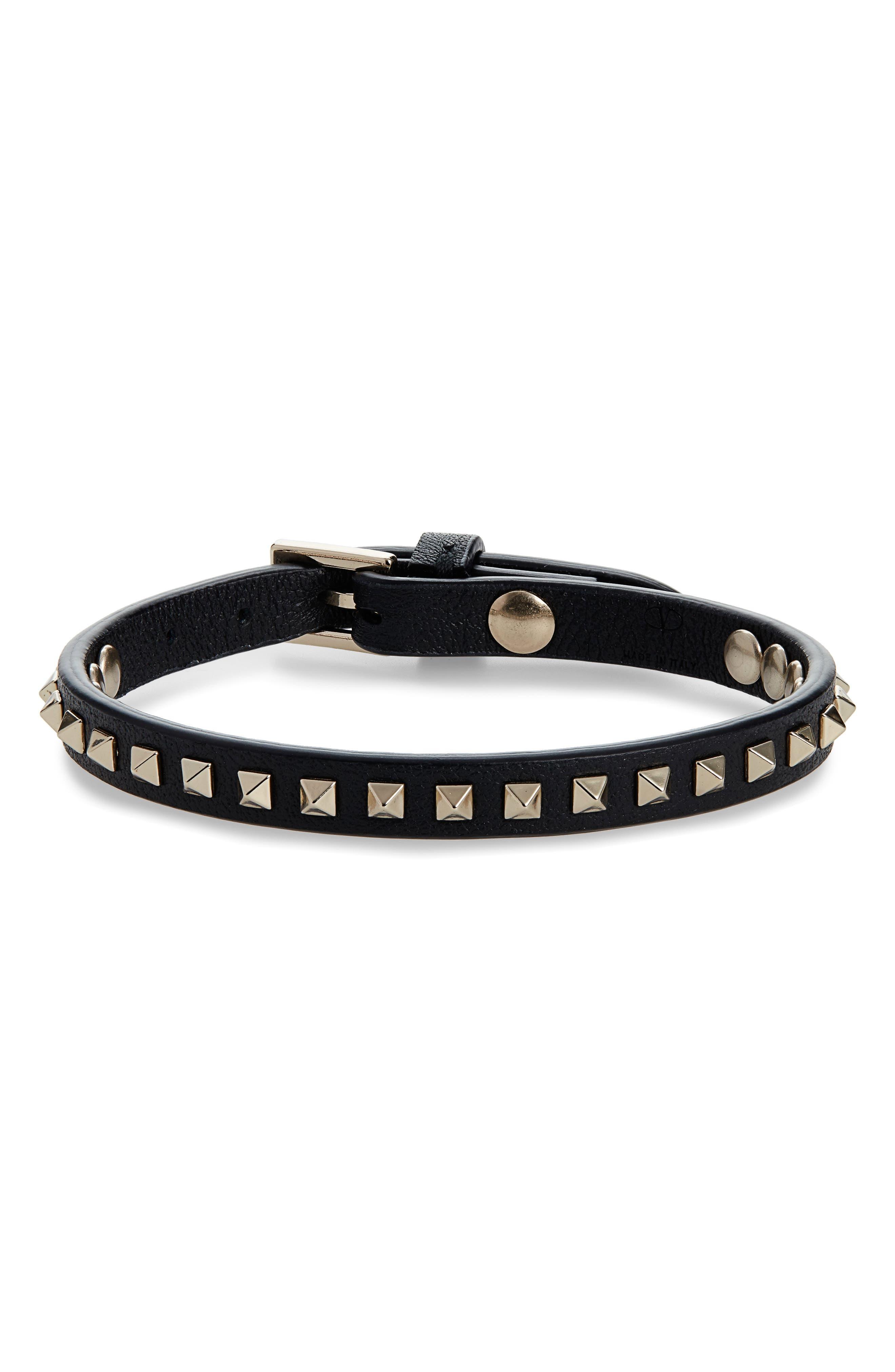 ,                             Rockstud Leather Bracelet,                             Main thumbnail 1, color,                             001