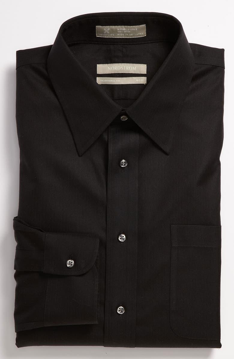 NORDSTROM MEN'S SHOP Smartcare<sup>™</sup> Wrinkle Free Traditional Fit Herringbone Dress Shirt, Main, color, 001