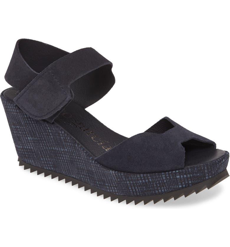 PEDRO GARCIA 'Fama' Wedge Sandal, Main, color, NAVY
