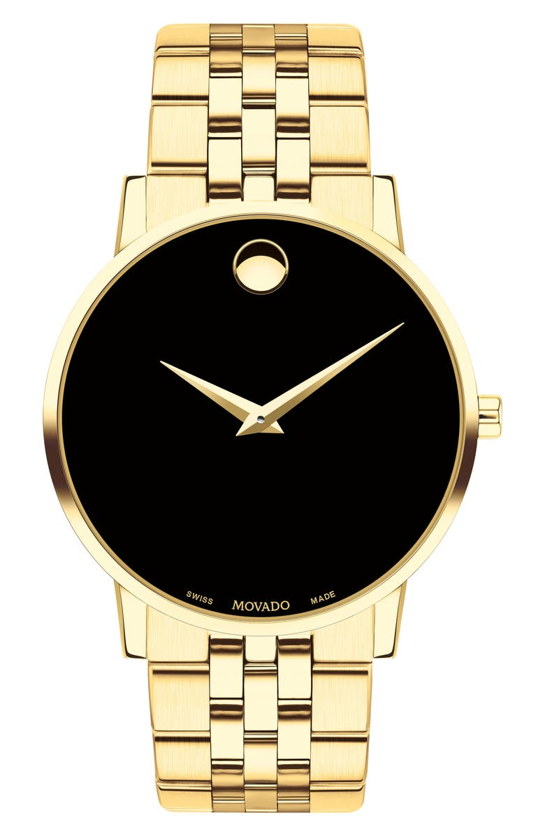 MOVADO Bracelet Watch, 40mm, Main, color, GOLD/ BLACK/ GOLD