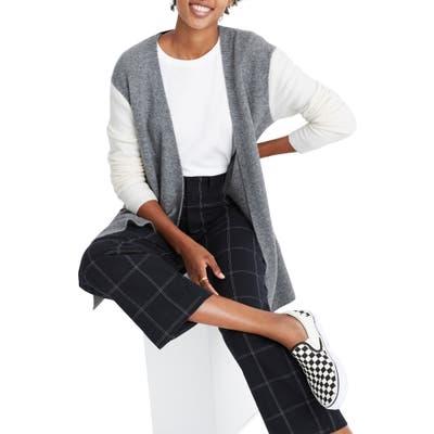 Madewell Colorblock Kent Cardigan Sweater, Grey