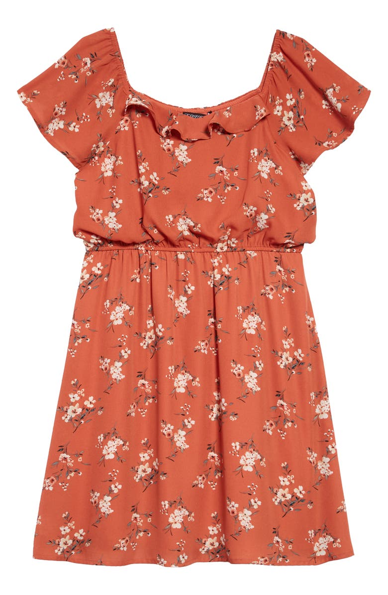 TRIXXI Ditsy Floral Print Off the Shoulder Dress, Main, color, RUST