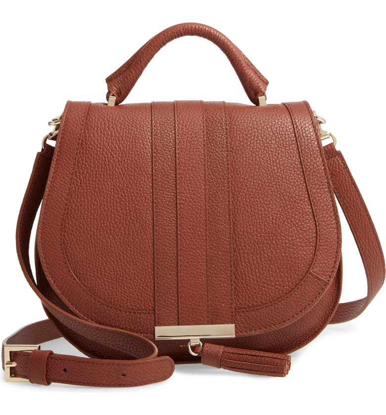DEMELLIER Midi Venice Grained Leather Crossbody Bag, Main, color, COGNAC
