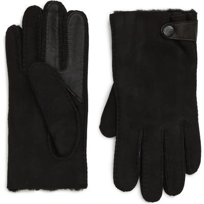 UGG Genuine Shearling Lined Leather Tech Gloves, Black