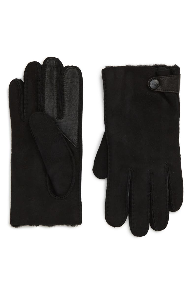 UGG<SUP>®</SUP> Genuine Shearling Lined Leather Tech Gloves, Main, color, BLACK