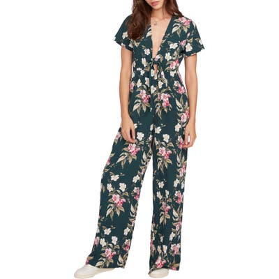 Volcom Haute Tropic Floral Plunge Jumpsuit, Green