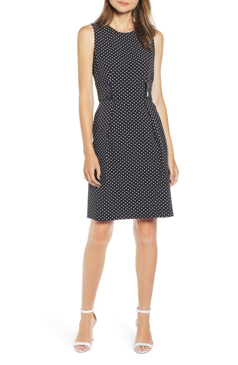 ANNE KLEIN Posh Dot Sheath Dress, Main, color, ANNE BLACK/ ANNE WHITE