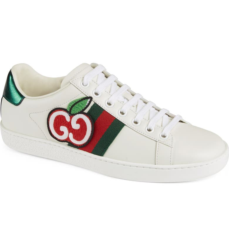 GUCCI New Ace Double G Logo Cherry Sneaker, Main, color, WHITE