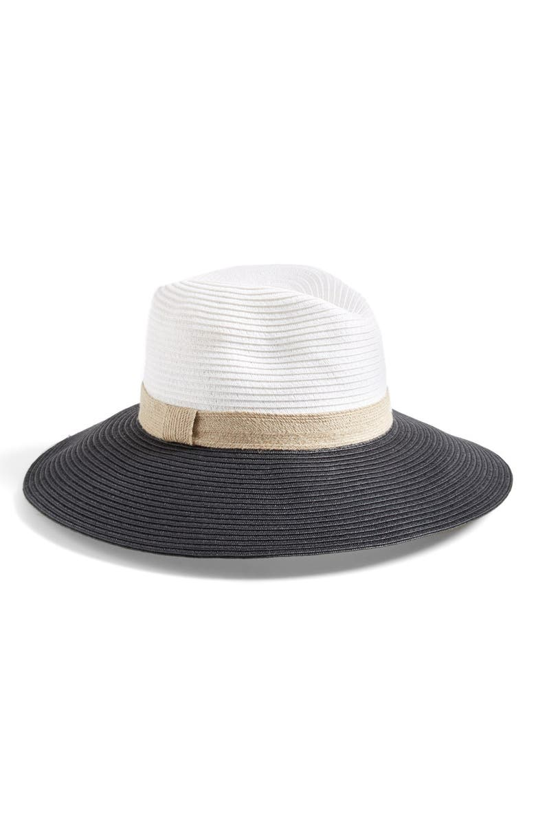 HALOGEN<SUP>®</SUP> Colorblock Panama Hat, Main, color, 100