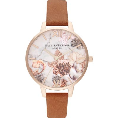 Olivia Burton Marble Florals Leather Strap Watch,