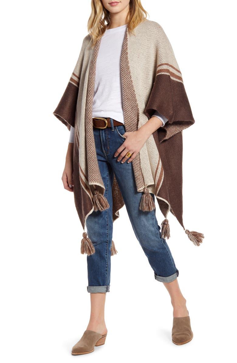 TREASURE & BOND Tassel Knit Ruana, Main, color, BEIGE COMBO