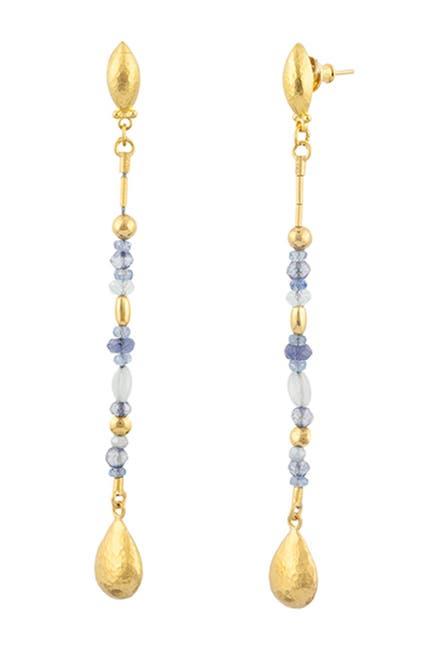 Image of Gurhan 24K Gold Aquamarine Stiletto Earrings