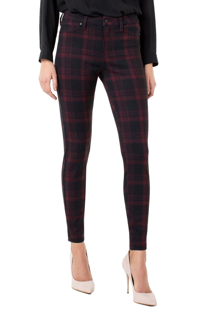 LIVERPOOL Plaid Super Skinny Knit Pants, Main, color, RED/ BLACK