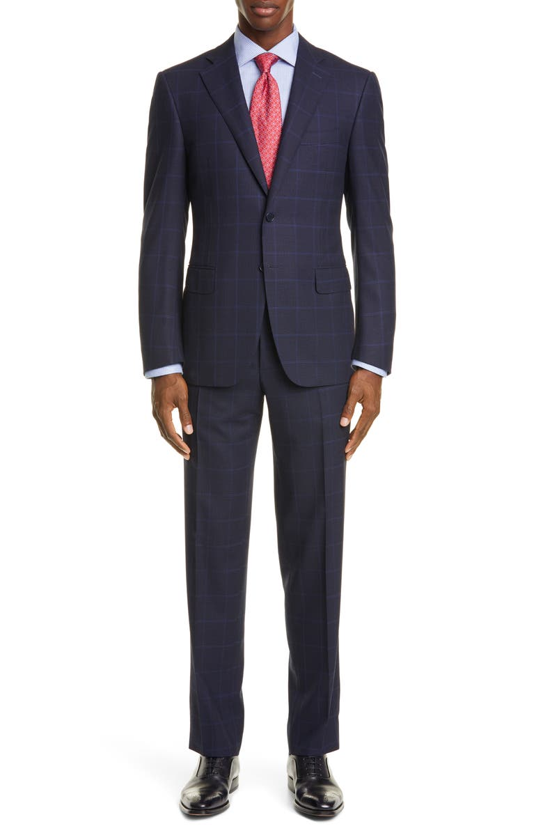 CANALI Sienna Soft Classic Fit Windowpane Wool Suit, Main, color, NAVY