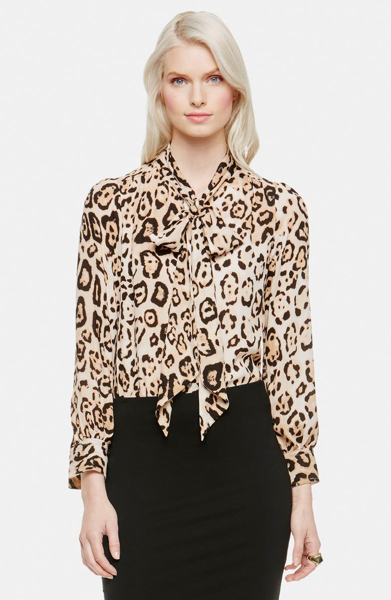 VINCE CAMUTO Animal Print Bow Neck Blouse, Main, color, 001