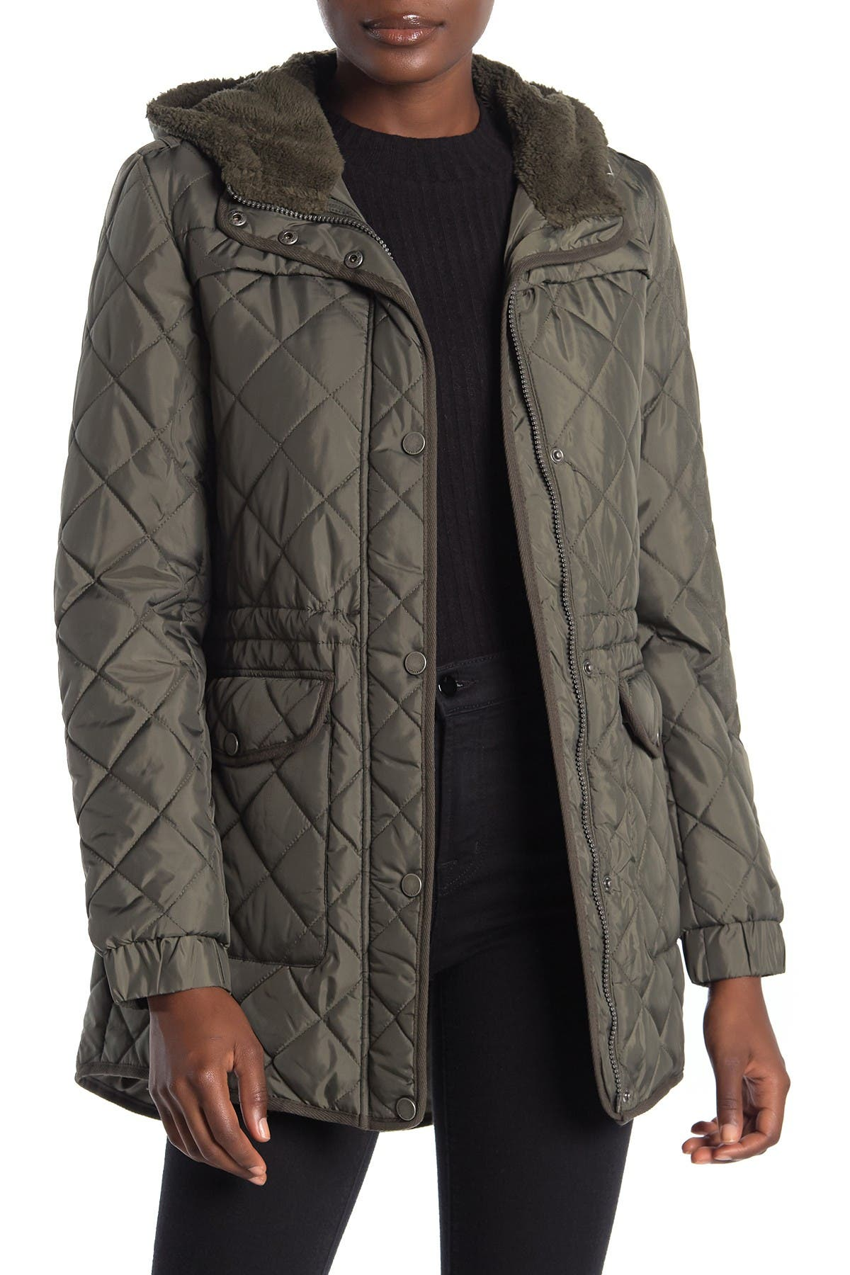 Image of Lucky Brand Faux Shearling Lined Hood Quilted Zip Jacket