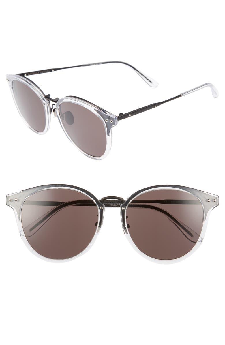 BOTTEGA VENETA 56mm Round Sunglasses, Main, color, BRONZE