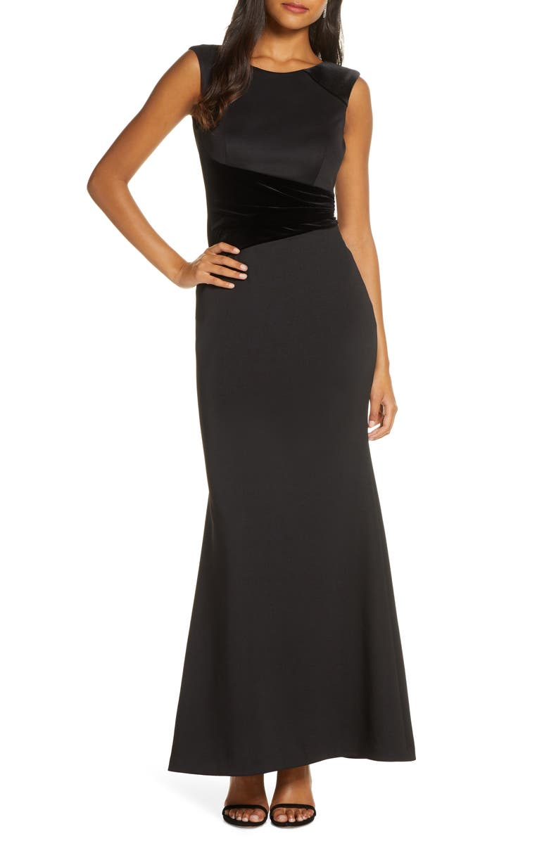 VINCE CAMUTO Velvet Detail Scuba Trumpet Gown, Main, color, BLACK
