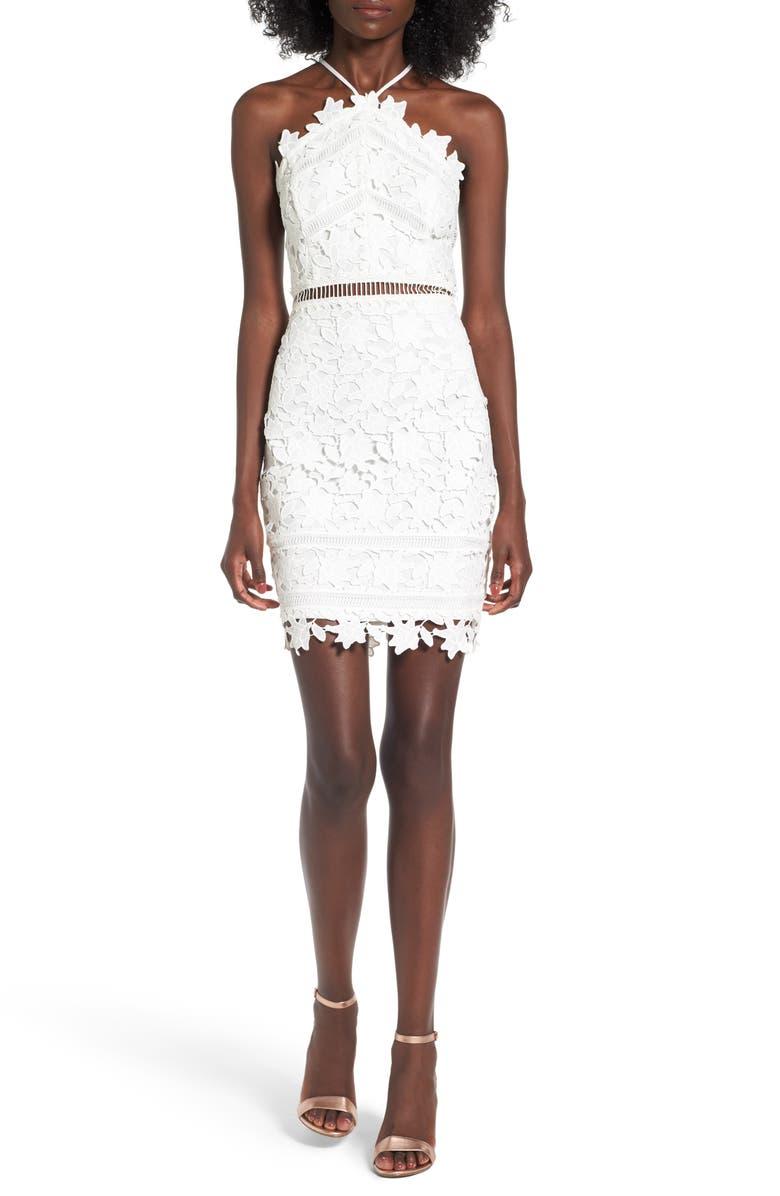ASTR THE LABEL Lace Body-Con Dress, Main, color, 100