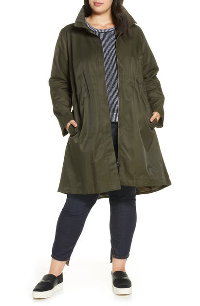 Eileen Fisher Coats STAND COLLAR ORGANIC COTTON BLEND COAT