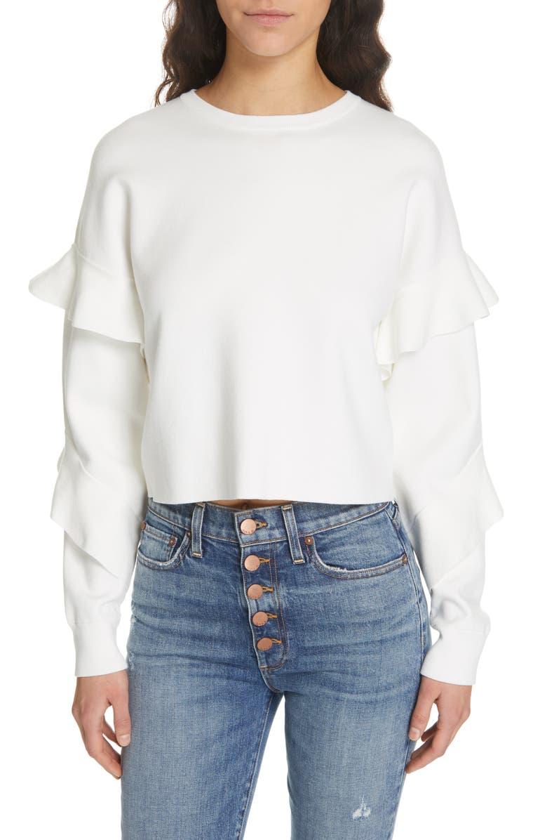 ALICE + OLIVIA Ruffle Sleeve Sweater, Main, color, 100