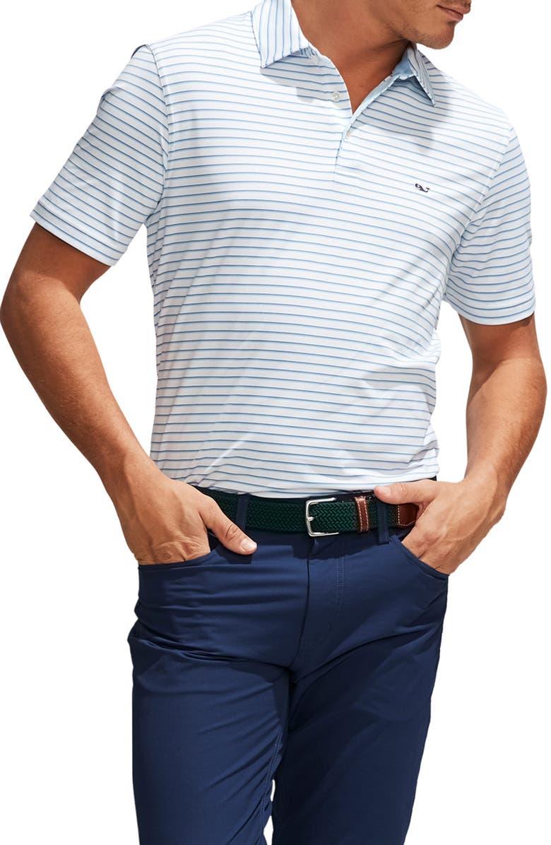 VINEYARD VINES Bogey Stripe Sankaty Performance Polo, Main, color, WHITE CAP