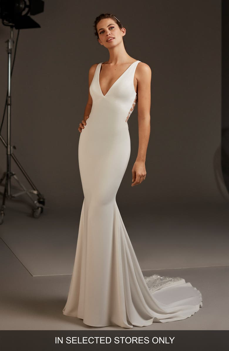 Pronovias Aquila Lace Back Crepe Mermaid Wedding Dress Nordstrom