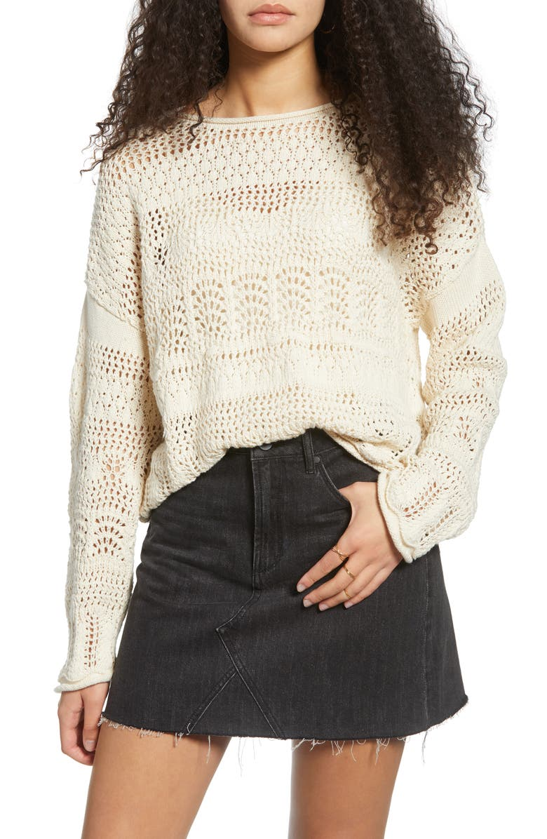 ALL IN FAVOR Crochet Boat Neck Sweater, Main, color, NATURAL