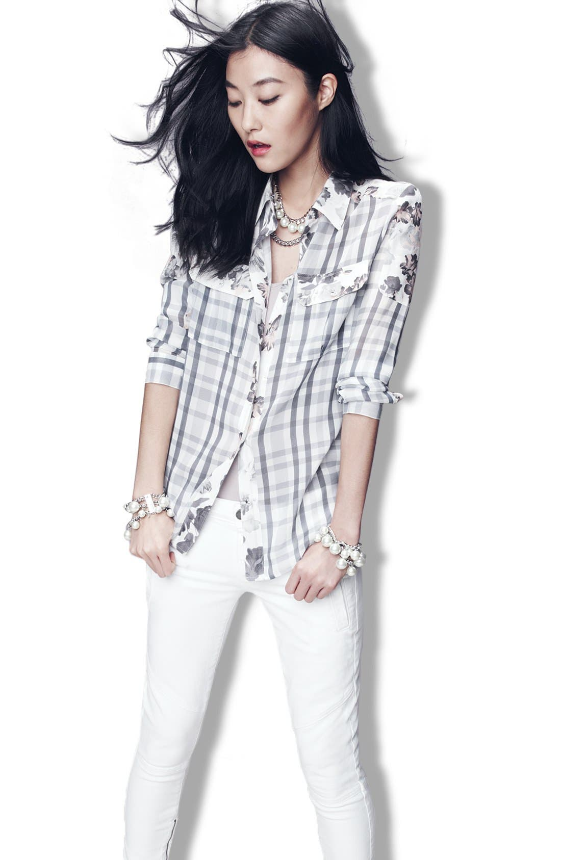 ,                             Denim 'Audrey' Mixed Print Silk Shirt,                             Alternate thumbnail 4, color,                             020