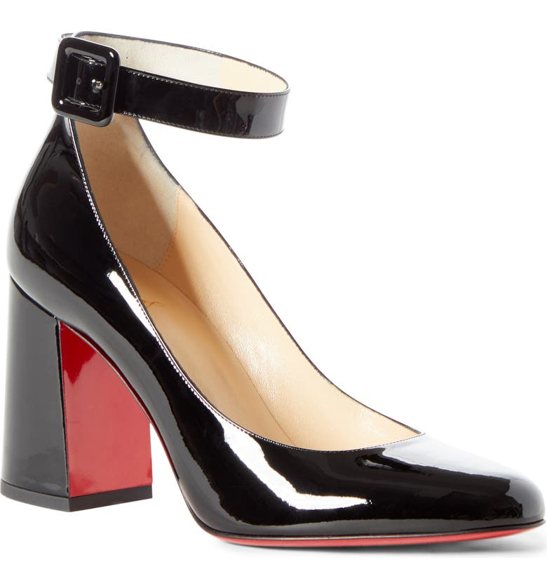CHRISTIAN LOUBOUTIN Soval Ankle Strap Pump, Main, color, 001