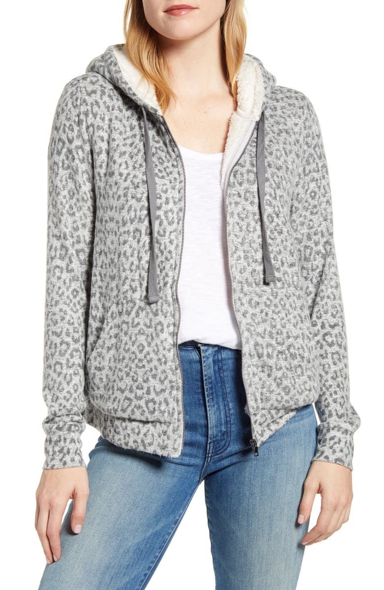 BOBEAU Faux Shearling Lined Zip Hoodie, Main, color, GREY ANIMAL