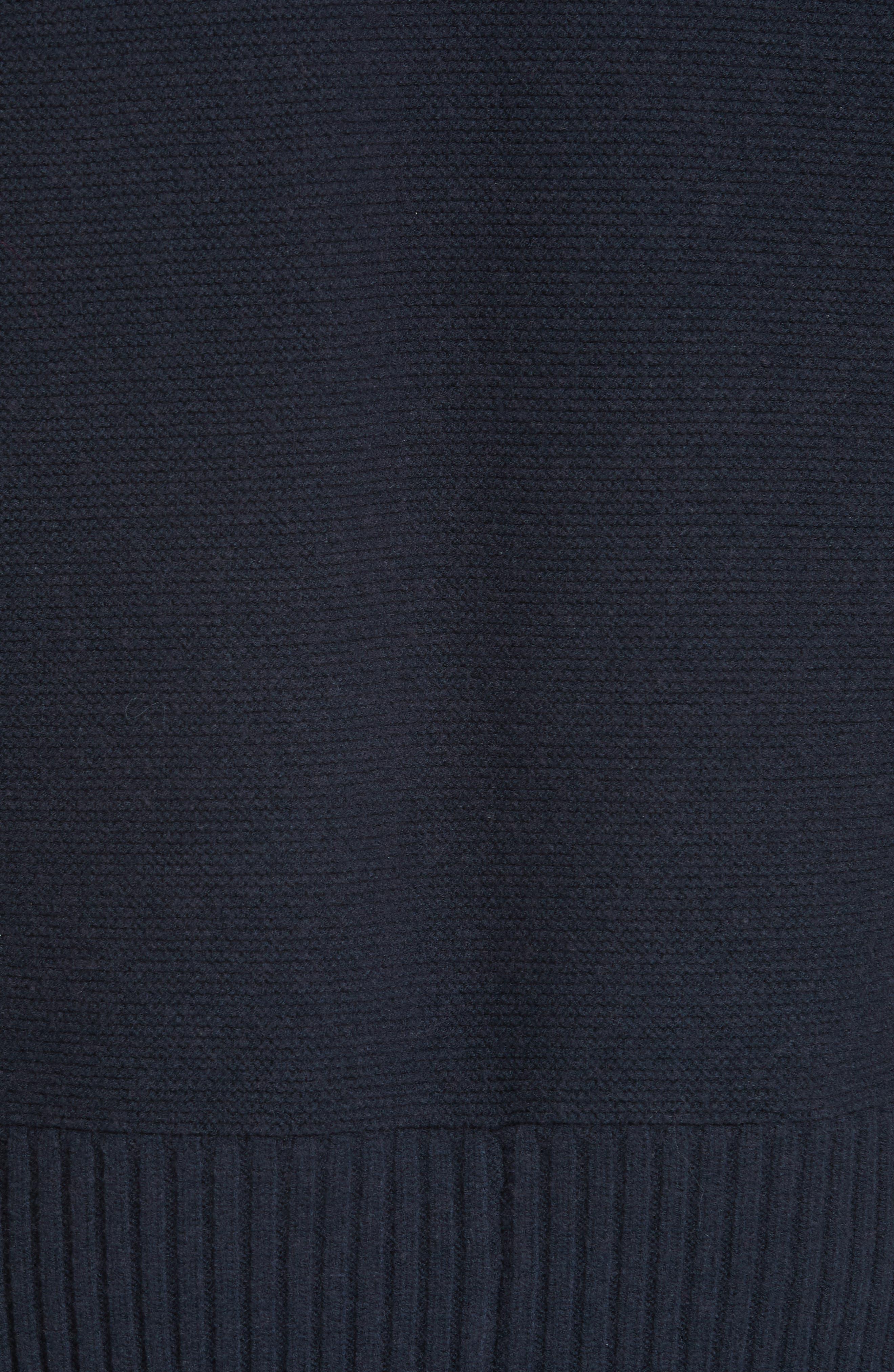,                             Ruffle Trim Sweater Dress,                             Alternate thumbnail 5, color,                             NAVY
