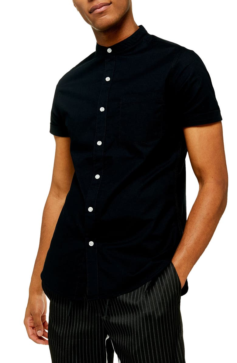 TOPMAN Stand Collar Skinny Short Sleeve Button-Up Shirt, Main, color, BLACK