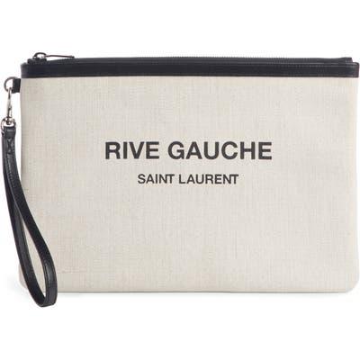 Saint Laurent Rive Gauche Canvas Pouch - White