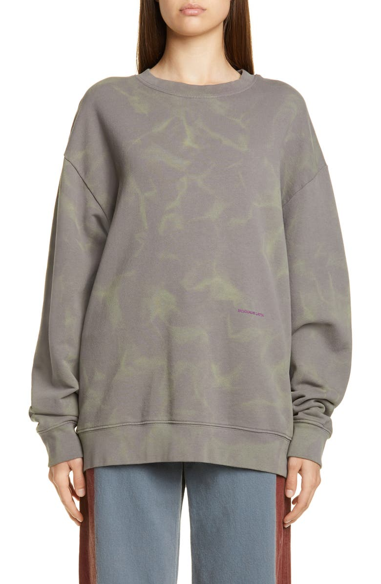 ECKHAUS LATTA Hand Dyed Sweatshirt, Main, color, SMOKE