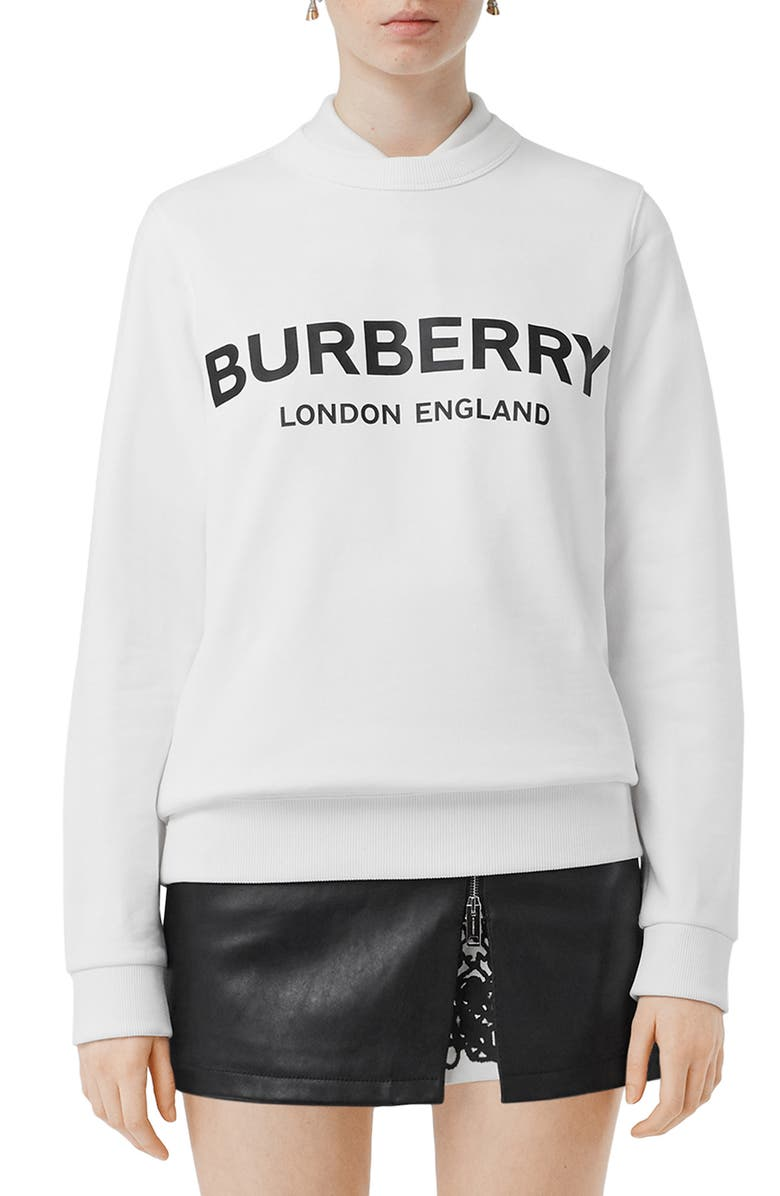 BURBERRY Fairhall Logo Print Sweatshirt, Main, color, 100
