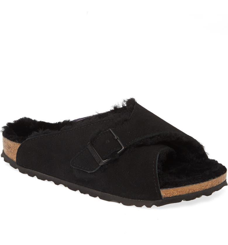 BIRKENSTOCK Arosa Genuine Shearling Slide Sandal, Main, color, BLACK SUEDE/ SHEARLING