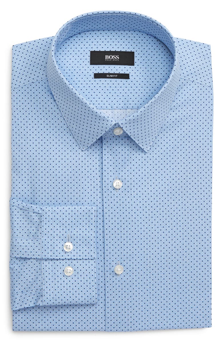 BOSS Isko Slim Fit Print Dress Shirt, Main, color, LIGHT PASTEL BLUE