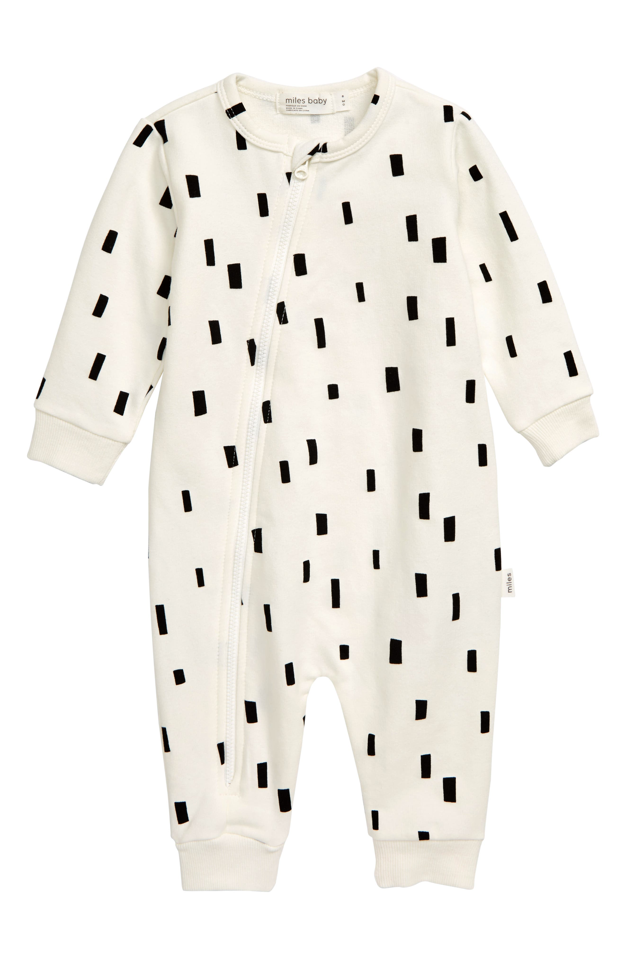 Give your little one a cozy cuddle in this stretchy organic-cotton romper that\\\'s easy on you and baby thanks to a top-to-bottom zipper fixed with a chin guard. Style Name: Miles Baby Asymmetrical Zip Romper (Baby). Style Number: 5886353 1. Available in stores.