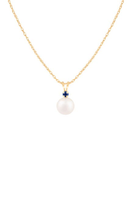 Image of Splendid Pearls 14K Yellow Gold Sapphire & 7-7.5mm Freshwater Pearl Pendant Necklace