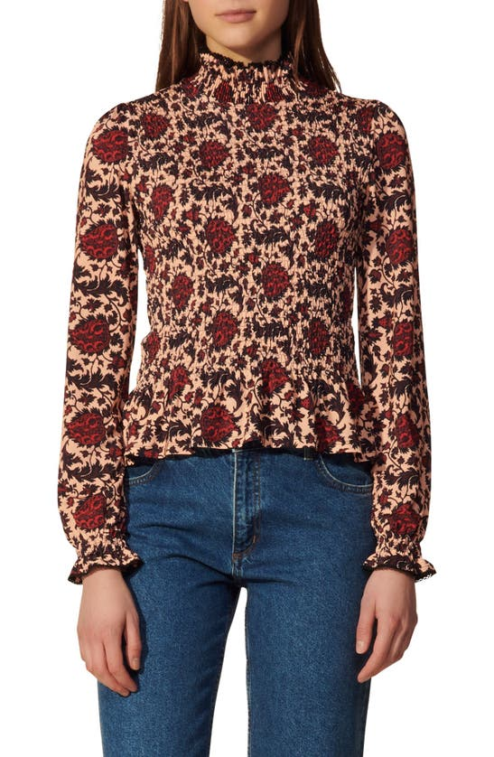 Sandro Blouses FLORAL PRINT SMOCKED TOP