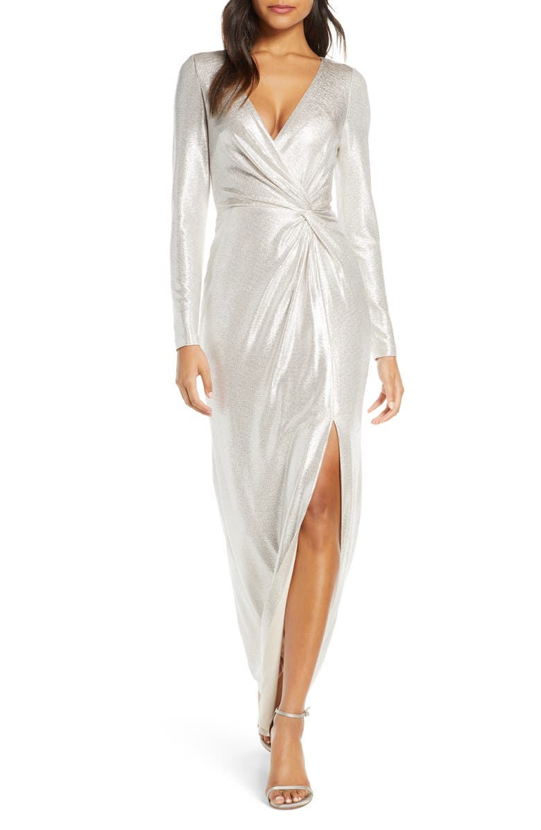 ELIZA J Twist Front Long Sleeve Metallic Gown, Main, color, CHAMPAGNE