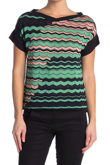 Image of M Missoni Chevron Striped Short Sleeve Top