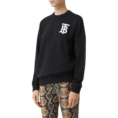 Burberry Dryden Tb Monogram Sweatshirt, Black